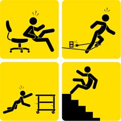 Risque professionnels, activités de bureau, chute de plain pied